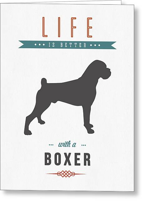 Boxer Dog Greeting Cards - Boxer 01 Greeting Card by Aged Pixel