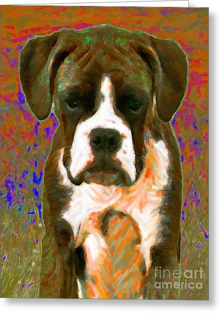 Puppies Digital Greeting Cards - Boxer 20130126v1 Greeting Card by Wingsdomain Art and Photography
