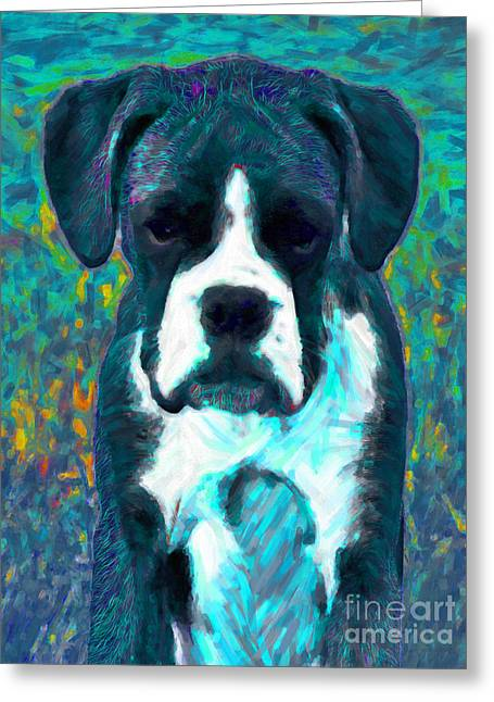 Puppies Digital Greeting Cards - Boxer 20130126v4 Greeting Card by Wingsdomain Art and Photography
