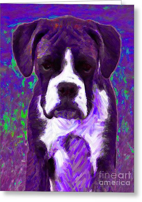 Puppies Digital Greeting Cards - Boxer 20130126v6 Greeting Card by Wingsdomain Art and Photography