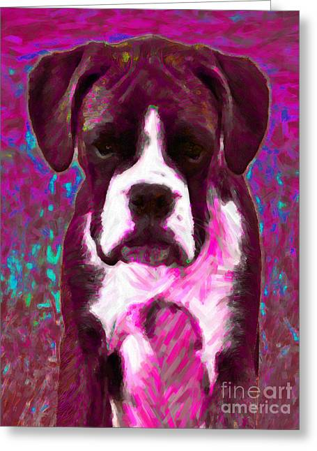 Boxer Puppy Digital Greeting Cards - Boxer 20130126v7 Greeting Card by Wingsdomain Art and Photography