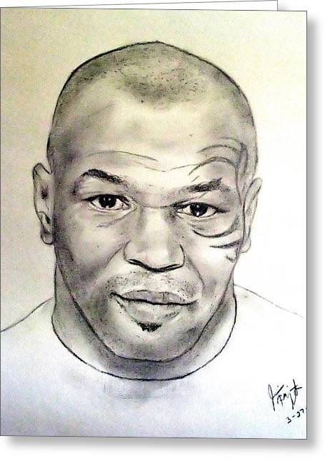 Las Vegas Drawings Greeting Cards - Boxer and Actor Mike Tyson Greeting Card by Jim Fitzpatrick