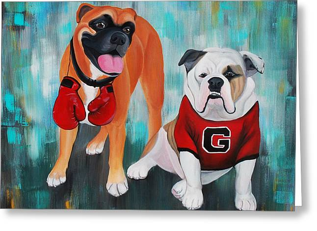 Custom Commissioned Pet Portrait From Photos Greeting Cards - Boxer and Bulldog Portrait Greeting Card by Lauren Hammack