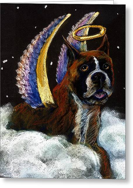 Boxer Pastels Greeting Cards - Boxer Angel Greeting Card by Darlene Grubbs