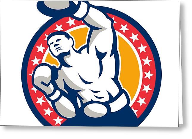 Boxer Boxing Punching Jabbing Retro Greeting Card by Aloysius Patrimonio