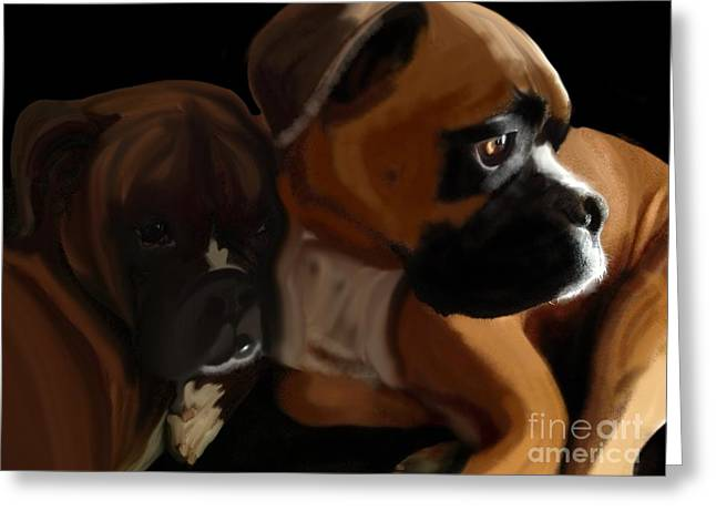 Bully Greeting Cards - Boxer Brothers Greeting Card by Christina Kulzer