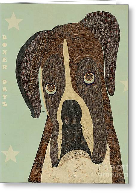 Boxer Dog Art Print Greeting Cards - Boxer Days Greeting Card by Bri Buckley