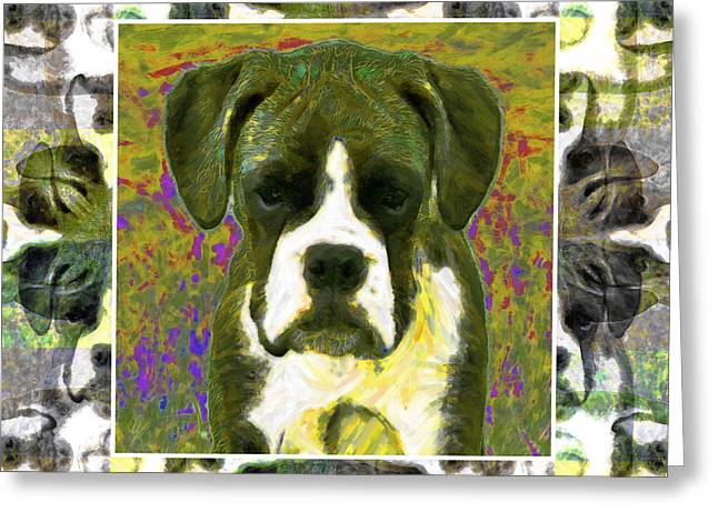 Boxer Abstract Art Greeting Cards - Boxer Dog 20130126 Greeting Card by Wingsdomain Art and Photography