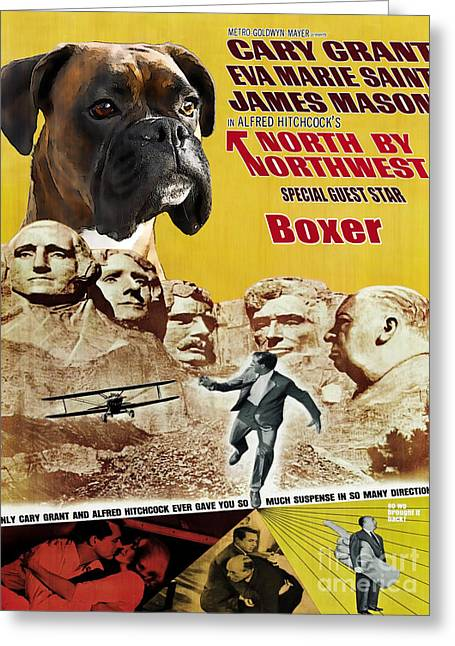 Boxer Dog Art Print Greeting Cards - Boxer Dog Art Canvas Print - North By Northwest Movie Poster Greeting Card by Sandra Sij