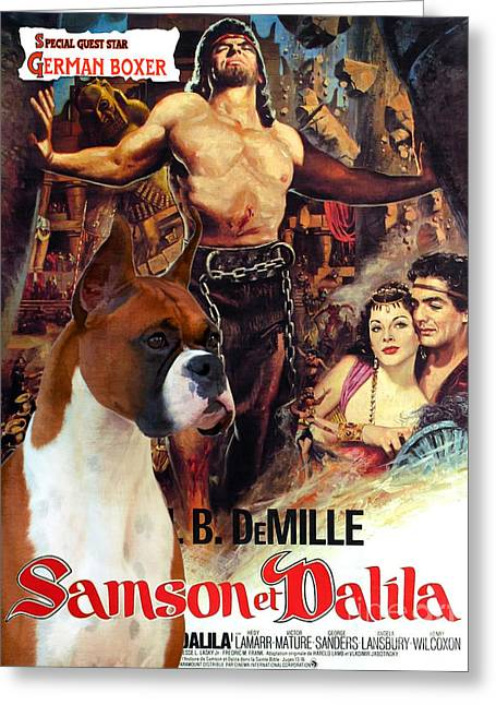 Boxer Dog Art Print Greeting Cards - Boxer Dog Art Canvas Print - Samson and Delilah Movie Poster Greeting Card by Sandra Sij