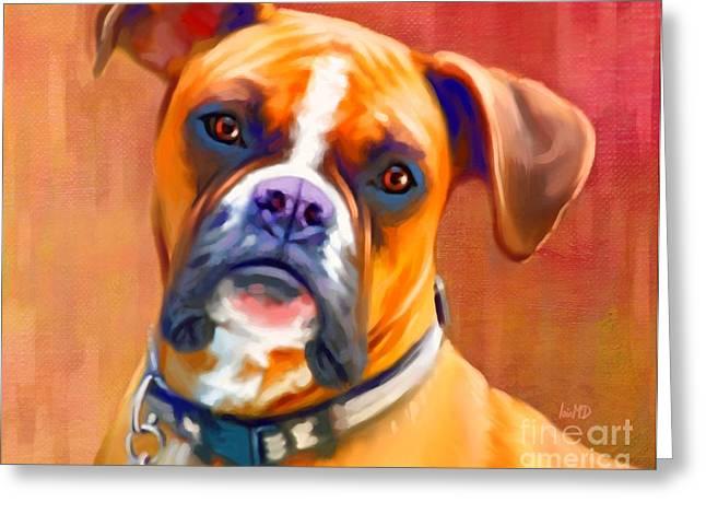 Buy Dog Prints Digital Greeting Cards - Boxer Dog Art Greeting Card by Iain McDonald