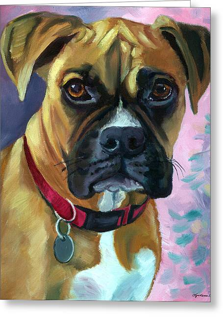 K9 Greeting Cards - Boxer Dog Portrait Greeting Card by Lyn Cook