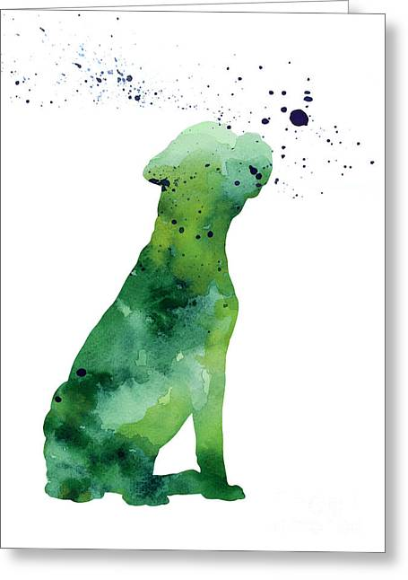 Boxer Abstract Art Greeting Cards - Boxer dog silhouette large poster Greeting Card by Joanna Szmerdt