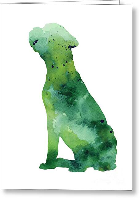 Boxer Abstract Art Greeting Cards - Boxer dog silhouette watercolor art print painting Greeting Card by Joanna Szmerdt