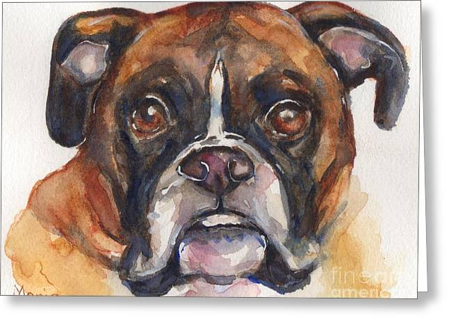 Boxer Greeting Cards - Boxer Dog watercolor Greeting Card by Maria