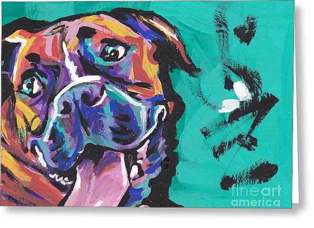 Recently Sold -  - Puppies Paintings Greeting Cards - Boxer Luv Greeting Card by Lea