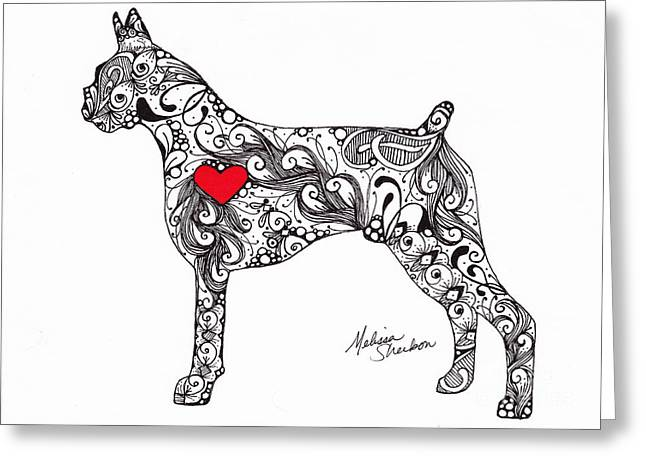 Recently Sold -  - White Drawings Greeting Cards - Boxer Greeting Card by Melissa Sherbon