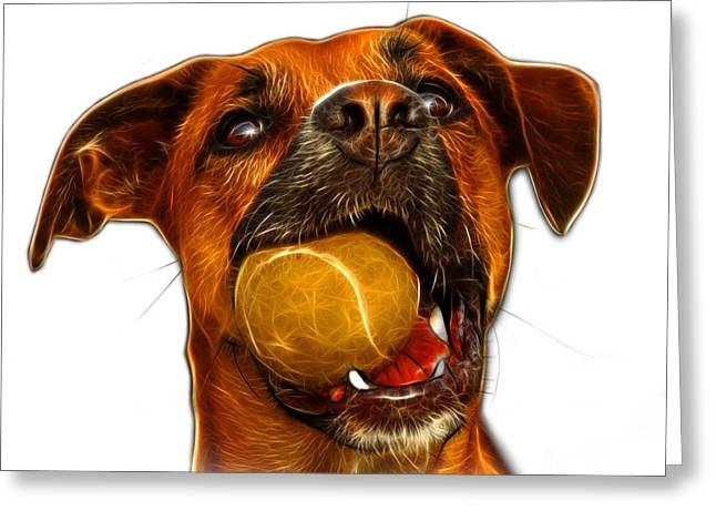 Boxer Mix Dog Art - 8173 - WB Greeting Card by James Ahn