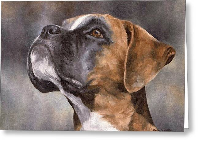 Domestic Pets Greeting Cards - Boxer Painting Greeting Card by Rachel Stribbling