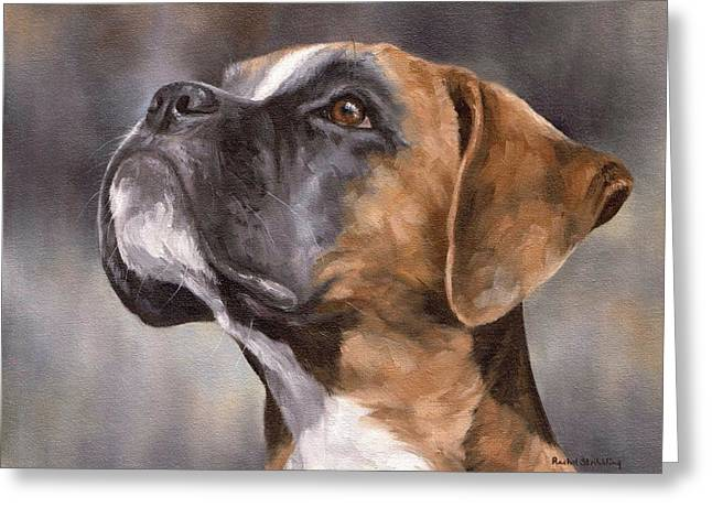 Pet Portrait Artist Greeting Cards - Boxer Painting Greeting Card by Rachel Stribbling