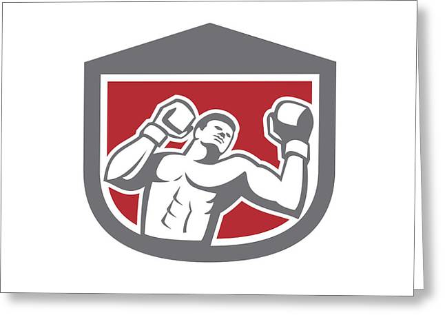 Punching Digital Greeting Cards - Boxer Punching Boxing Shield Retro Greeting Card by Aloysius Patrimonio
