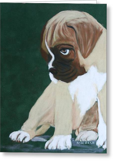 Boxer Pastels Greeting Cards - Boxer Pup Greeting Card by Michele Turney