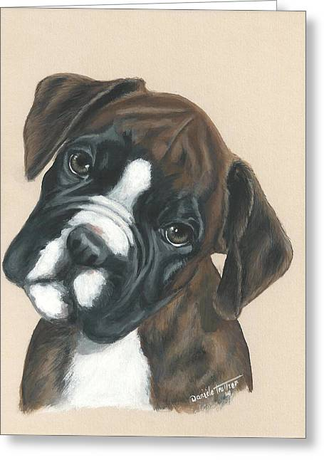 Boxer Greeting Cards - Boxer Puppy Greeting Card by Daniele Trottier