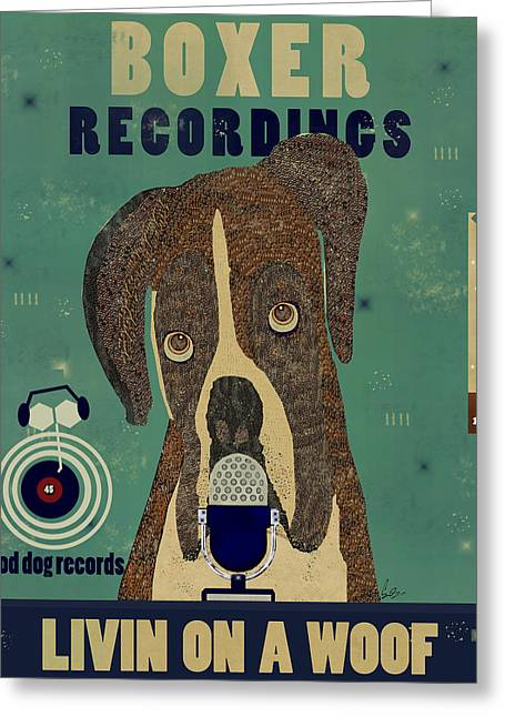 Boxer Dog Art Print Greeting Cards - Boxer Records Greeting Card by Bri Buckley