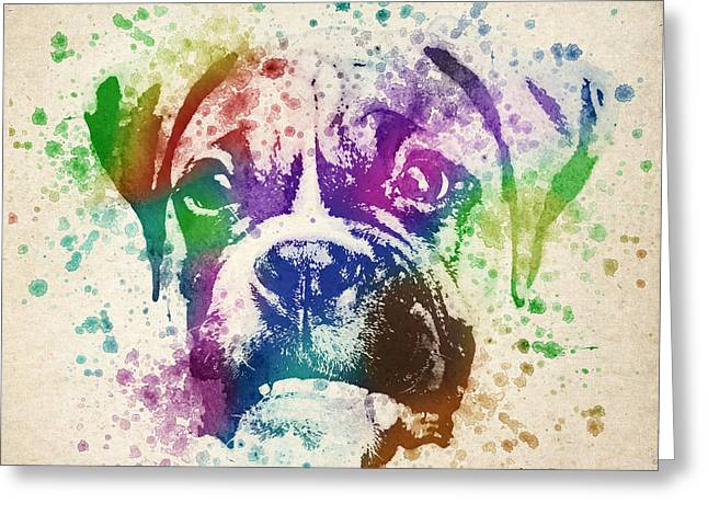 Doggy Greeting Cards - Boxer Splash Greeting Card by Aged Pixel