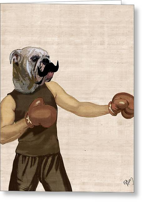 Bulldog Prints Greeting Cards - Boxing Bulldog Portrait Greeting Card by Kelly McLaughlan