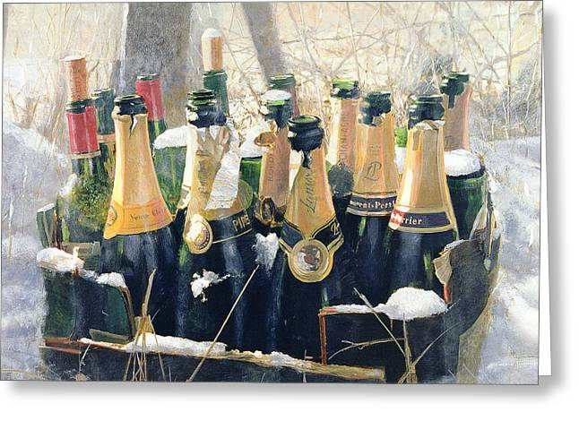Red Wine Bottle Mixed Media Greeting Cards - Boxing Day Empties Greeting Card by Lincoln Seligman