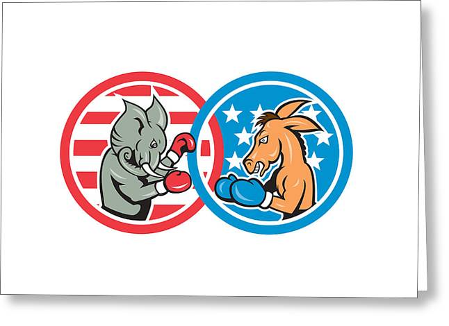 Grand Old Party Greeting Cards - Boxing Democrat Donkey Versus Republican Elephant Mascot Greeting Card by Aloysius Patrimonio