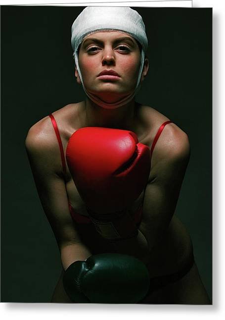 Fitness Greeting Cards - boxing Girl 2 Greeting Card by Evgeniy Lankin