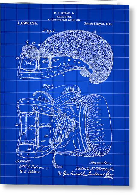 Punch Digital Greeting Cards - Boxing Glove Patent 1914 - Blue Greeting Card by Stephen Younts