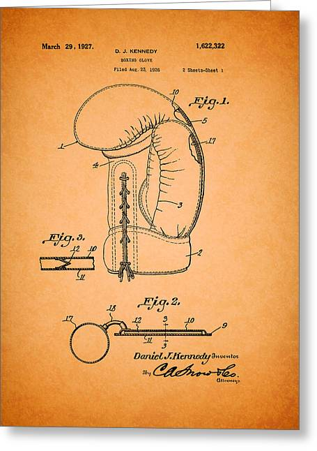 Sports Glove Drawings Greeting Cards - Boxing Glove Patent 1927 Greeting Card by Mountain Dreams
