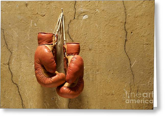Strength Greeting Cards - Boxing gloves Greeting Card by Bernard Jaubert