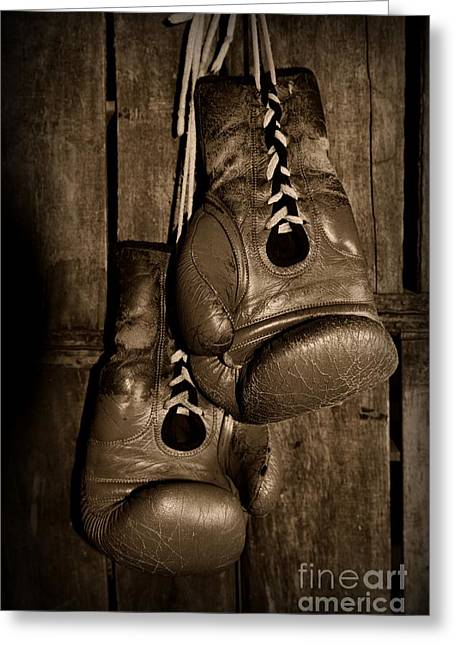 Jabbing Greeting Cards - Boxing Gloves  black and white Greeting Card by Paul Ward
