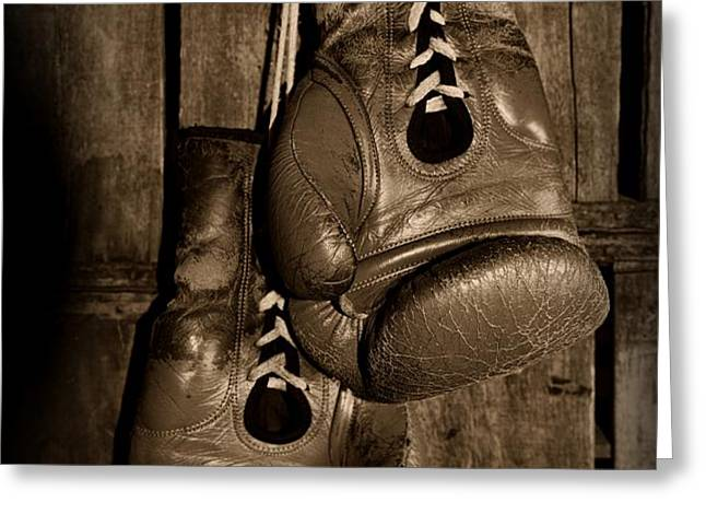 Boxing Gloves  black and white Greeting Card by Paul Ward