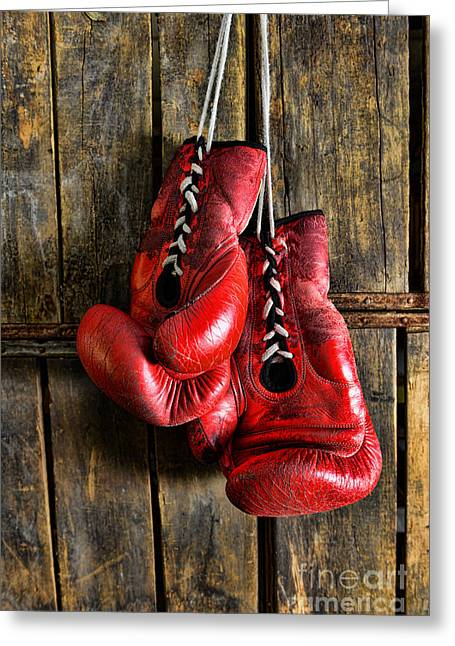 Knockout Greeting Cards - Boxing Gloves - Now retired Greeting Card by Paul Ward