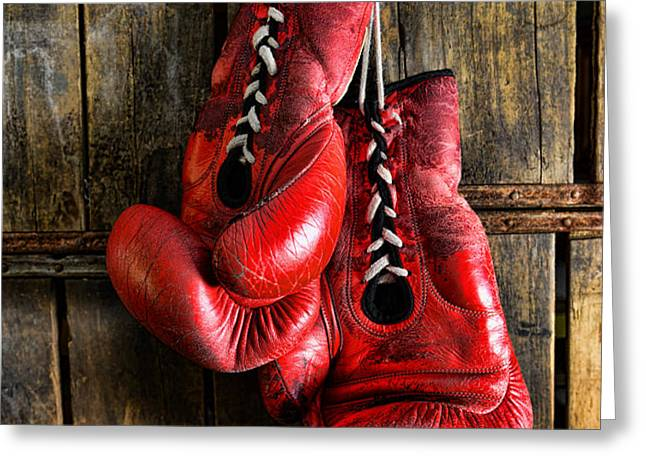 Boxing Gloves - Now retired Greeting Card by Paul Ward