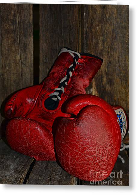 Jabbing Greeting Cards - Boxing Gloves Worn Out Greeting Card by Paul Ward