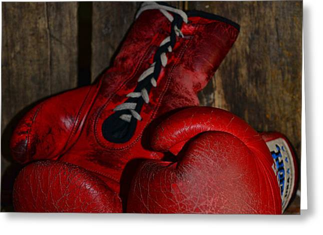 Boxing Gloves Worn Out Greeting Card by Paul Ward