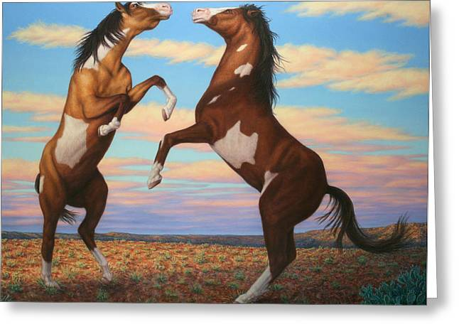 James Paintings Greeting Cards - Boxing Horses Greeting Card by James W Johnson