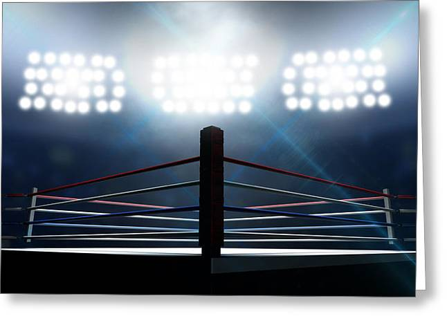 Boxing Digital Art Greeting Cards - Boxing Ring In Arena Greeting Card by Allan Swart
