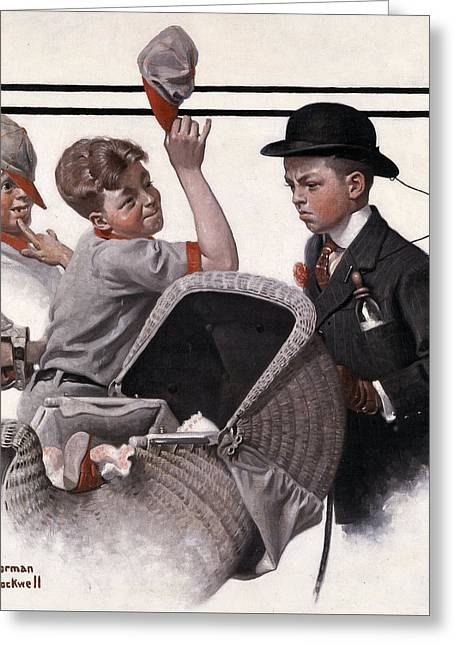 Norman Drawings Greeting Cards - Boy and a Baby Carriage by Norman Rockwell Greeting Card by Nomad Art And  Design