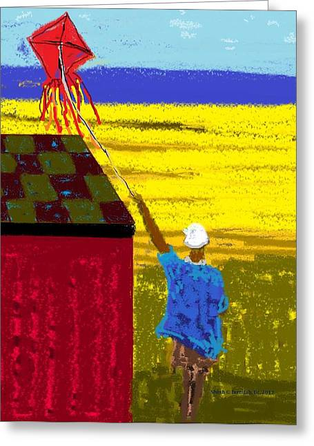 Shesh Tantry Greeting Cards - Boy and a Kite Greeting Card by Shesh Tantry