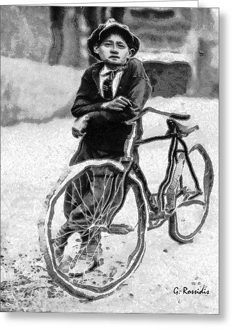 Boy And Bicycle Greeting Card by George Rossidis