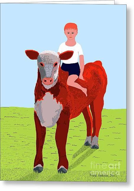 Child Care Digital Greeting Cards - Boy and Calf Greeting Card by Fred Jinkins