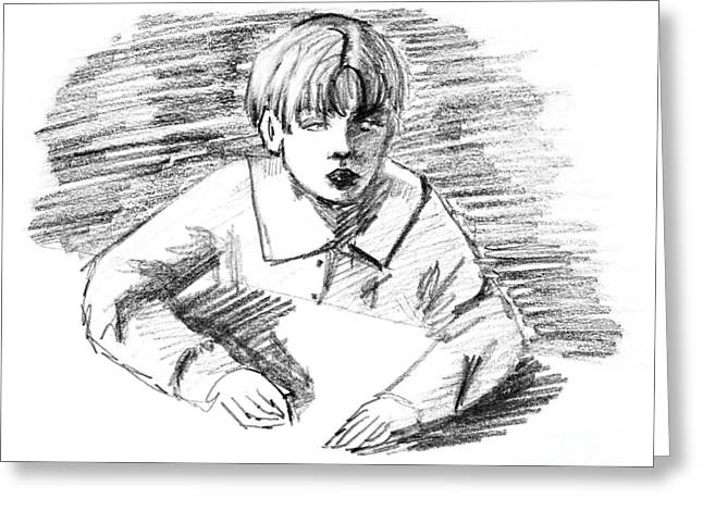 Grungy Drawings Greeting Cards - Boy and desk Greeting Card by Christina Rahm