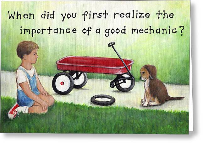 Boy And Dog With Broken Red Wagon Greeting Card by Theresa Stites